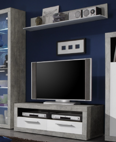 Pietra 120cm TV Cabinet Grey and White Gloss - 2702
